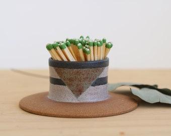 Handmade Ceramic Match Striker, Geometric Design, Wheel Thrown, Hand Painted, Unique Gift