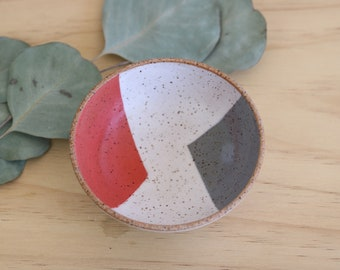 Handmade Ceramic Ring Dish, Geometric Design, Wheel Thrown, Hand Painted, Salt Dish, Spice Dish, Catchall, Jewelry Dish, Coins, Unique Gift