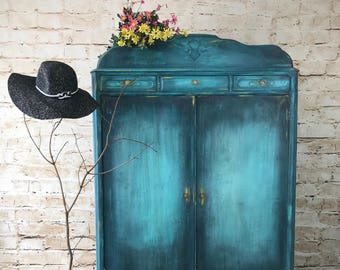 Restyled Boho Inspired Hand Painted Antique Armoire
