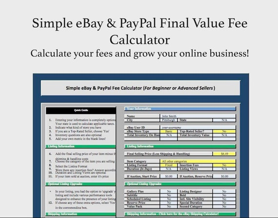 Simple eBay & PayPal Final Fee Calculator + FREE INVOICE!