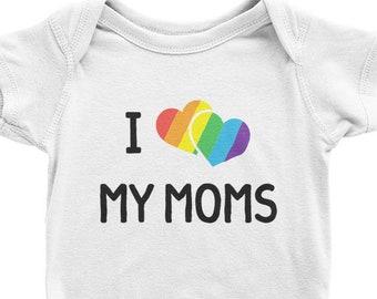 I Love My Moms LGBTQ Gay Pride Toddler Kids Shirt