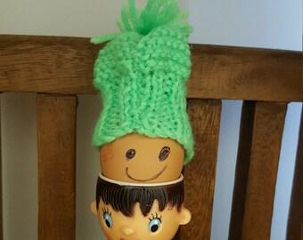 Hard Boiled Egg Hat, Easter Egg Warmer,Crocheted, Country Style,Childrens Fun, Handmade Beanie/ Cozy  for Eggs~ (GREEN)