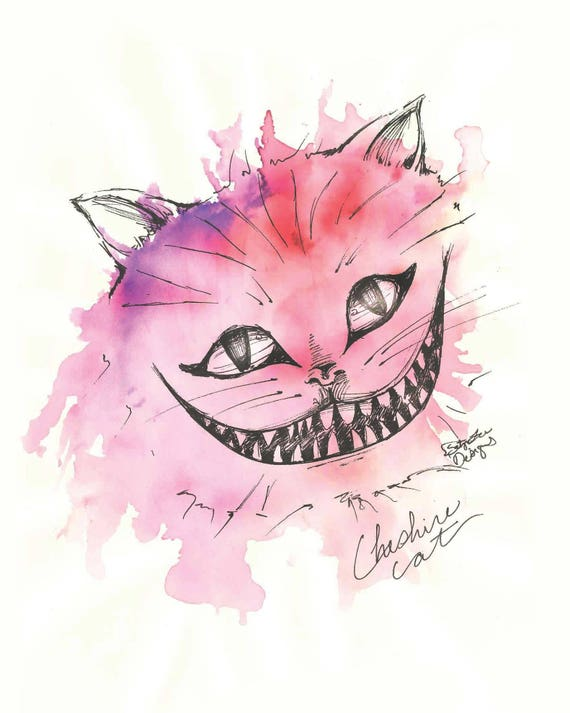 Cheshire Cat Alice In Wonderland Inked Beautiful Watercolor Etsy