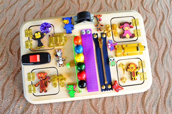 Wild Animal Busy board Toy for travel Toddler Baby Gift 1st Montessori Activity Autism Latch Finger Board Christmas Waldorf Special needs