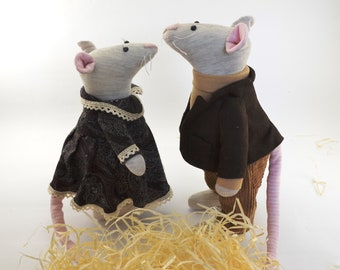 Set of two mice, Housewarming gifts, Miniature animals, Cute little Mouse, Valentine's day gifts, Rats, Wedding gift, Interior Handmade Toys