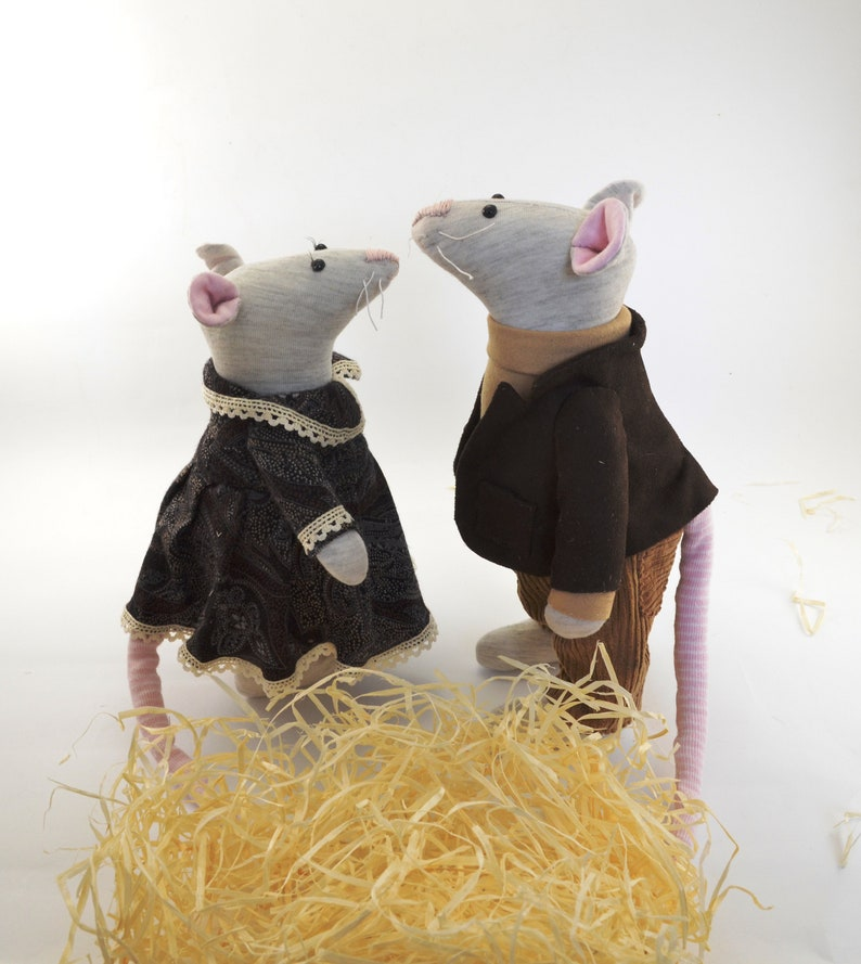 Set of two mice Housewarming gifts Miniature animals Cute image 0