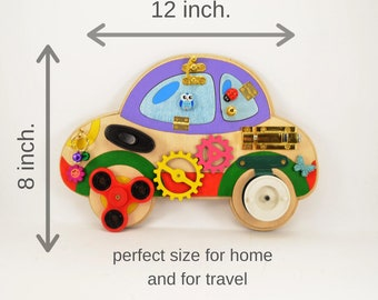 Busy board Car Travel toy Toddler Activity Sensory Montessori Fine motor skills Twins toys Baby gift Early year ideas Playroom Busyboard