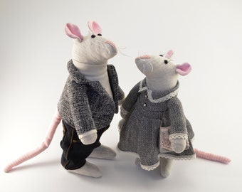 Set of two mice Housewarming gift Miniature animal Eco-Friendly Cute little mouse Valentine's day gift Wedding gift Interior Handmade Toys