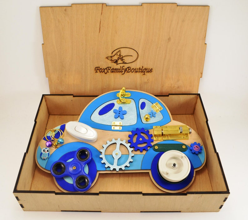 Busy board Toddler toys Montessori for baby Blue