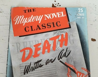 Vintage 1941 Death Writes An Ad Marion Holbrook 1940s Mystery Pulp Paperback