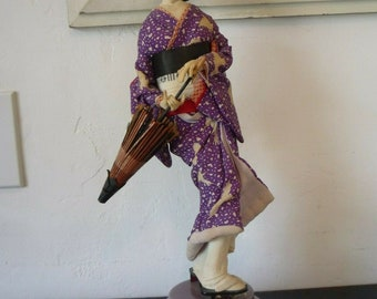 Vintage 1950s SANKYOSEIKI Co HARUSAME Japanese Geisha Music Doll Purple Kimono