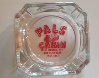 Rare 1957 Vintage Pal's Cabin Clear Glass Ashtray West Orange New Jersey