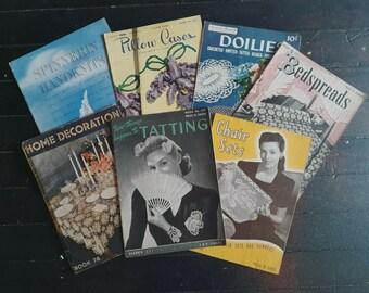 Vintage 1940s 50s Tatting Crochet Knitting Magazine Lot of 7 Home Decor Booklet