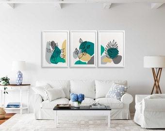 Set of 3 Teal Leaf Lines, Leaf Art Prints