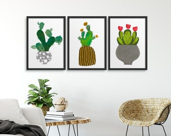 Set of 3 Cactus Abstract, Plant Wall Art