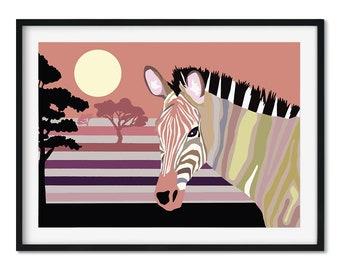 Pastel Zebra Nursery Art Print, Kids Bedroom Print