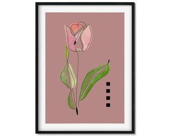 Tulip Art Print, Tulip Flower Art, Red Tulip
