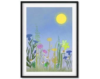 Wildflower Meadow, Flower Meadow Art Print, Flower Art