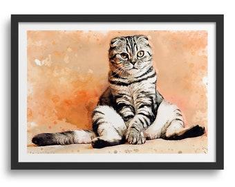 Cute Striped Cat Art Print, Cool Striped Cat with Flat Ears