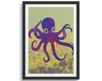 Purple Octopus Art Print Octopus Print