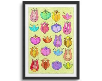 Tulips Flower Art Print, Tulips Art
