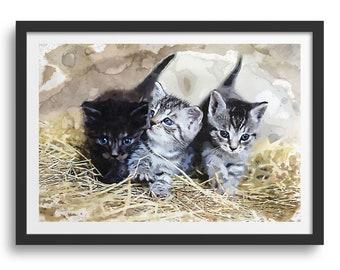 Kitten Cat Art Print Decor, Three Cute Kittens Playing in Straw