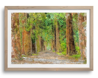 Lush Green Avenue Trees Art Print, Line of Trees Wall Art Decor