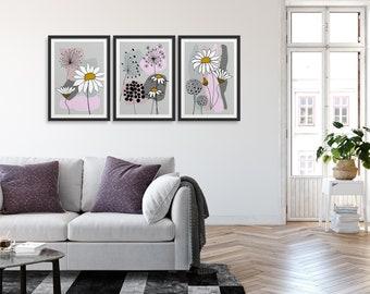 Set of 3 Pink & Grey Daisies, Flower prints, Daisy Art Prints