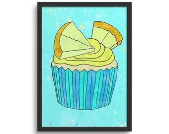 Lemon Drizzle Cupcake Art, Kitchen Art Print