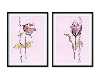 Set of 2 Flower Line Art, Flower Art Prints, Abstract Flower Prints