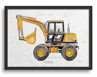 Truck Wall Art, Yellow Excavator Truck Construction Vehicle Kids Art,