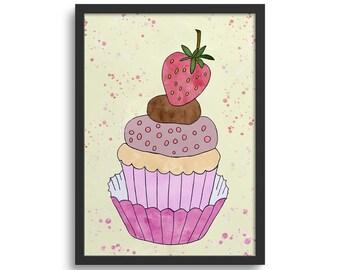 Strawberry Cupcake Art, Kitchen Art Print