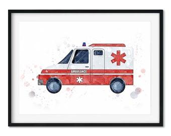 Kids Ambulance Art Print, Kids Bedroom Art Print