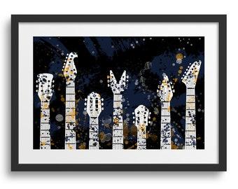 Guitar Heads Paint Splatter, Guitar Art, Guitar Collection, Guitar Print