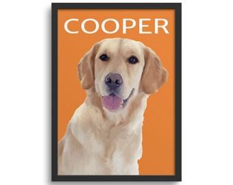 Personalised Labrador, Portrait Poster, Illustration Dog Lover Gift, 18 Colours