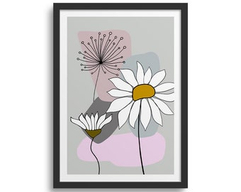 Pink & Grey Daisy Art 1, Abstract Flower Art Print