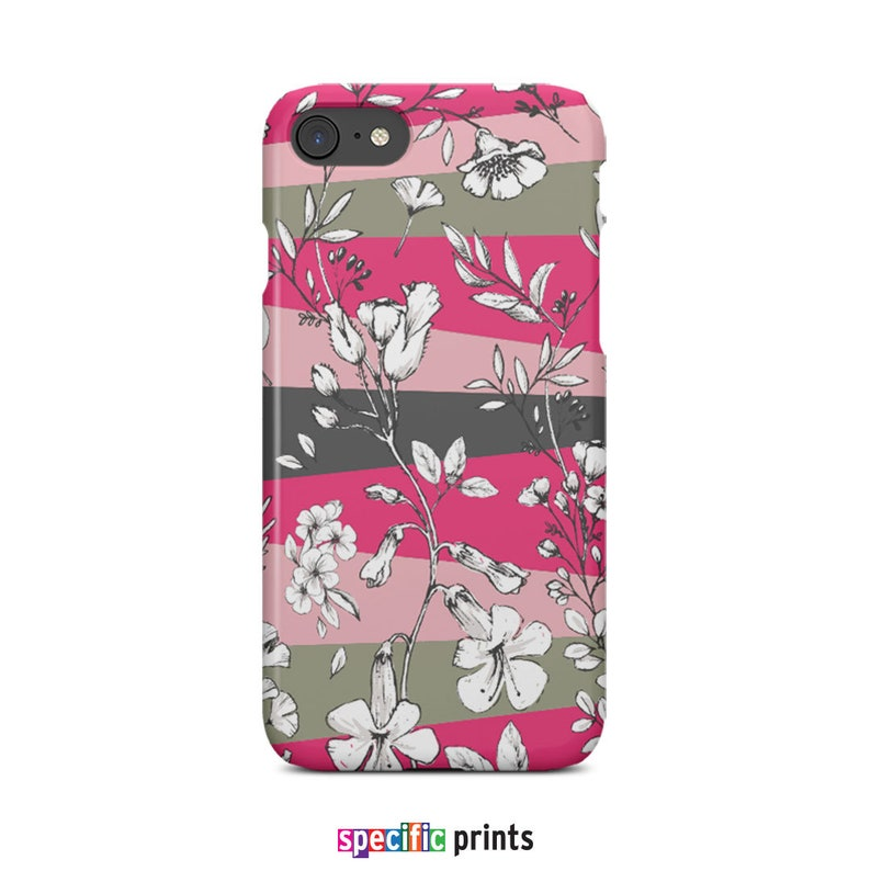 Pink Stripes Floral Illustration Phone Case For iPhone and Samsung Galaxy Botanical Phone Case Flower Phone Case