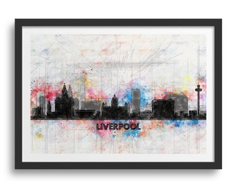 Liverpool Skyline Silhouette Sketch Print, Liverpool Cityscape, Liverpool Print Gift