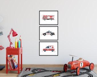 Set Of 3 Emergency Vehicles, Kids Bedroom Art