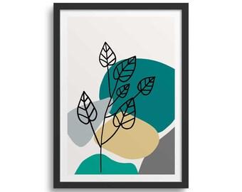 Teal Leaf Line 2 Leaf Art Print