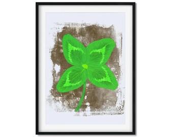 Four Leaf Clover, Rustic Clover Art Print, Grunge Art Print