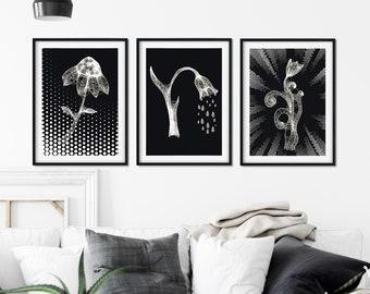 Cobweb Flowers Set Of 3, Cobweb Flower Art Print Set
