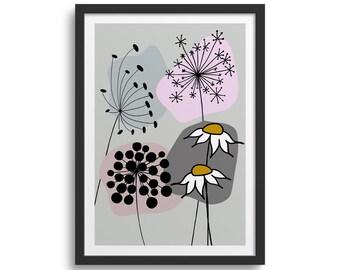 Pink & Grey Daisy Art 2, Abstract Flower Art Print