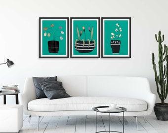 Set of 3 Teal Scandinavian Flowers, Flower Wall Art