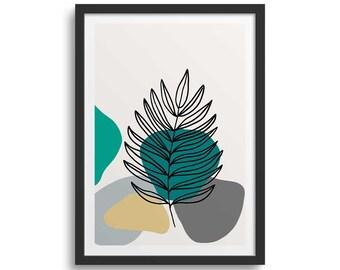 Teal Leaf Line 3 Leaf Art Print