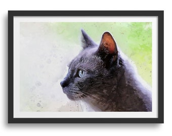 Cute Grey Cat Wall Art, Grey Cat's Face Close Up Side-View
