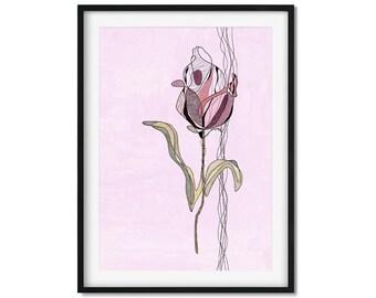 Tulip Line Art, Flower Art Print, Tulip Art, Tulip Wall Art