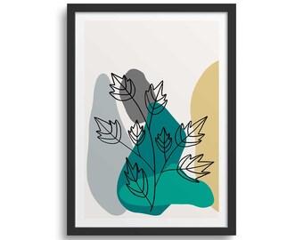 Teal Leaf Line 1 Leaf Art Print