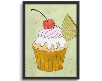Cherry Cupcake Art, Kitchen Art Print