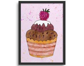 Raspberry Cupcake Art, Kitchen Art Print